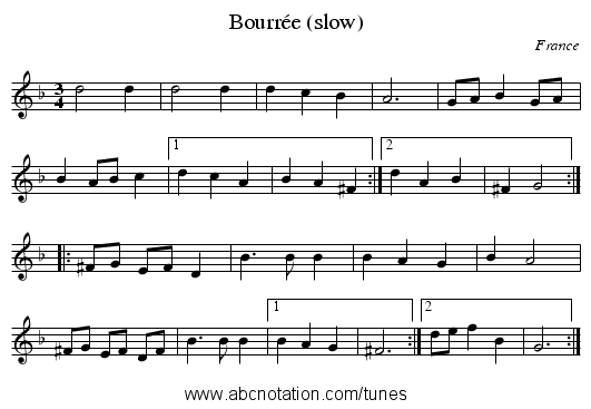 Bourrée (slow) - staff notation