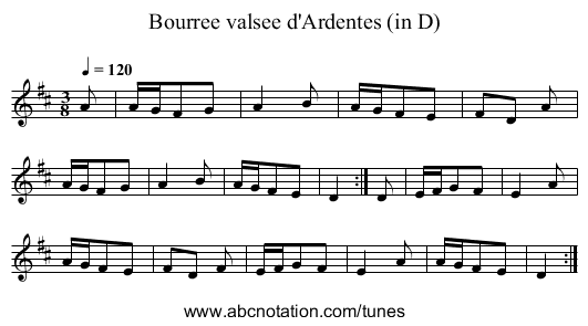 Bourree valsee d'Ardentes (in D) - staff notation
