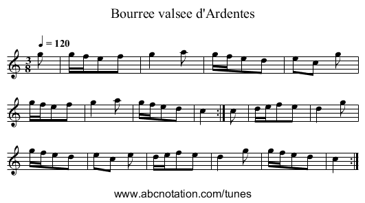 Bourree valsee d'Ardentes - staff notation