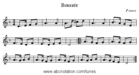 Bourrée - staff notation