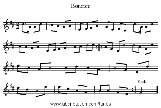 Bourree - staff notation