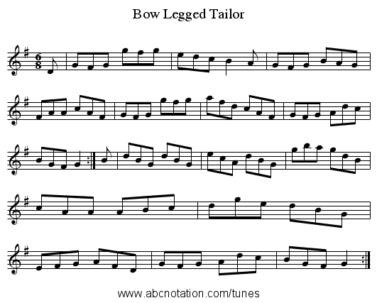 Bow Legged Tailor - staff notation