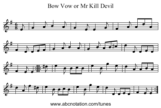 Bow Vow or Mr Kill Devil - staff notation