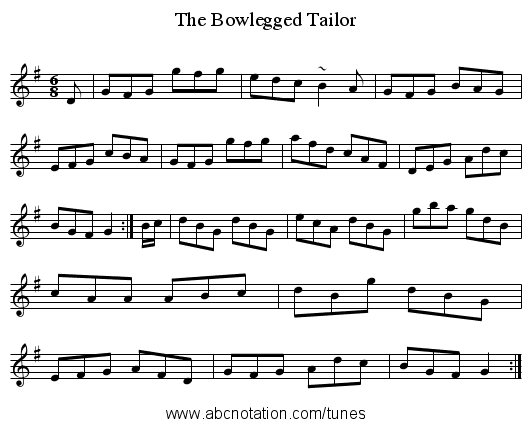 Bowlegged Tailor, The - staff notation