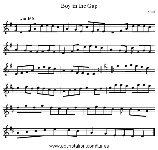 Boy in the Gap - staff notation