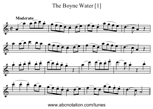 Boyne Water, The - staff notation
