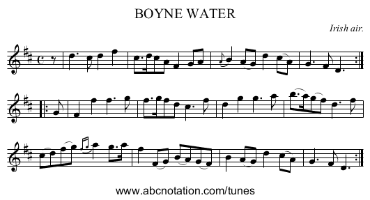 BOYNE WATER - staff notation