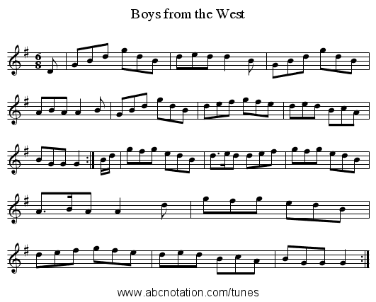 Boys from the West - staff notation
