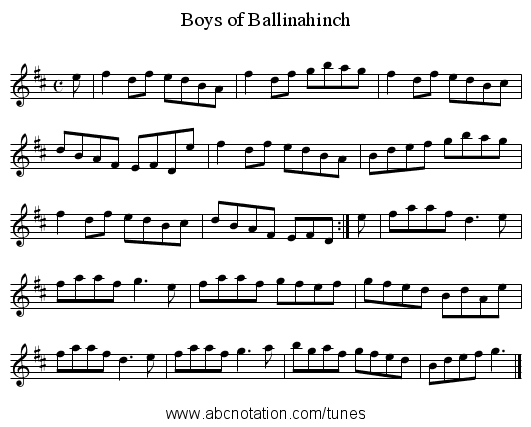 Boys of Ballinahinch - staff notation