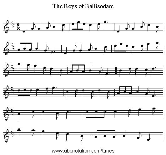 Boys of Ballisodare, The - staff notation