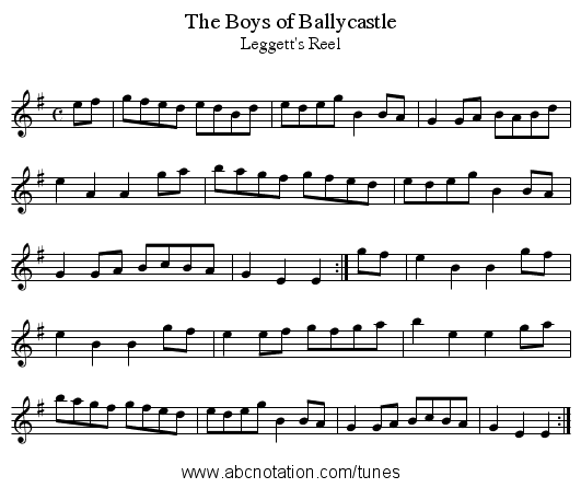 Boys of Ballycastle, The - staff notation