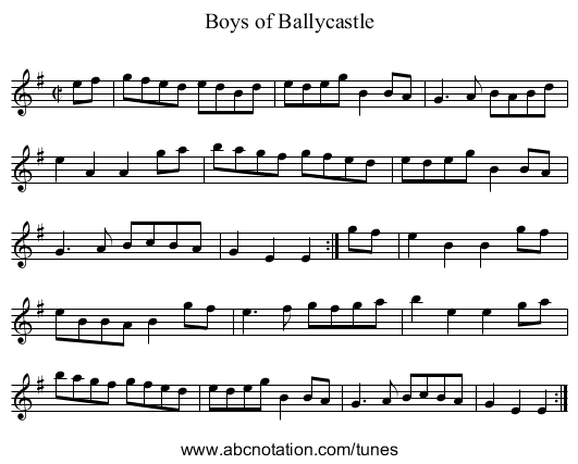 Boys of Ballycastle - staff notation