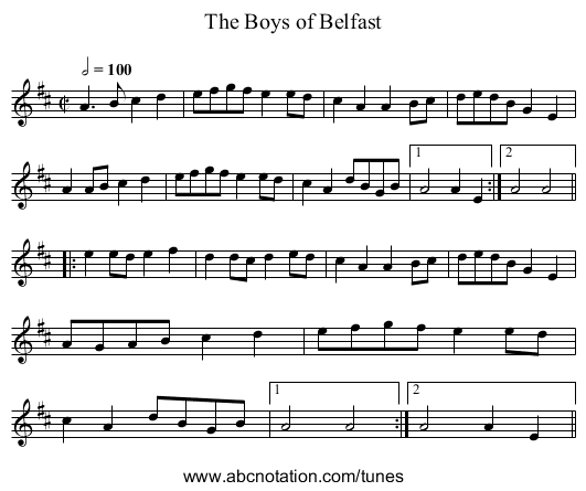 Boys of Belfast, The - staff notation