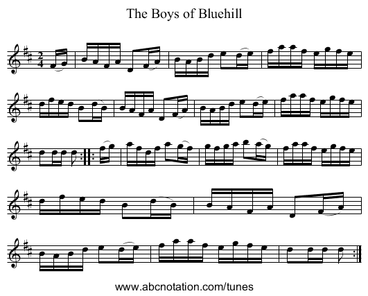 Boys of Bluehill, The - Variations - staff notation
