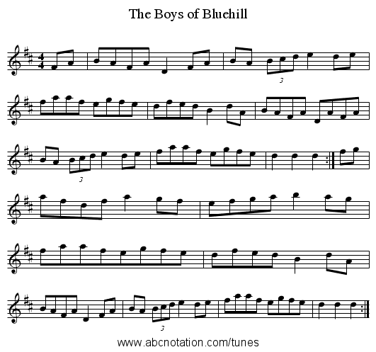 Boys of Bluehill, The - staff notation