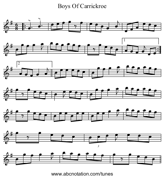 Boys Of Carrickroe - staff notation