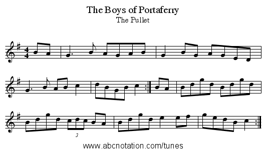 Boys of Portaferry, The - staff notation