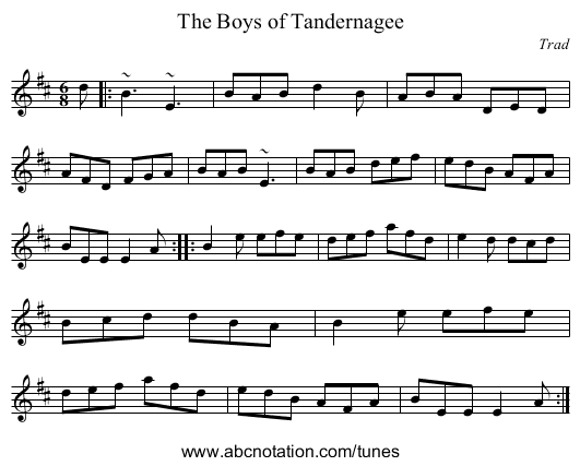 Boys of Tandernagee, The - staff notation