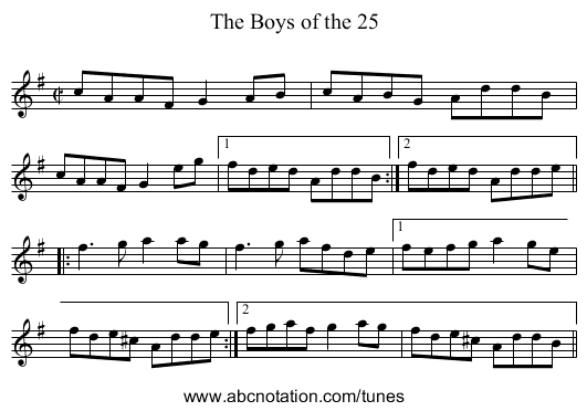 Boys of the 25, The - staff notation