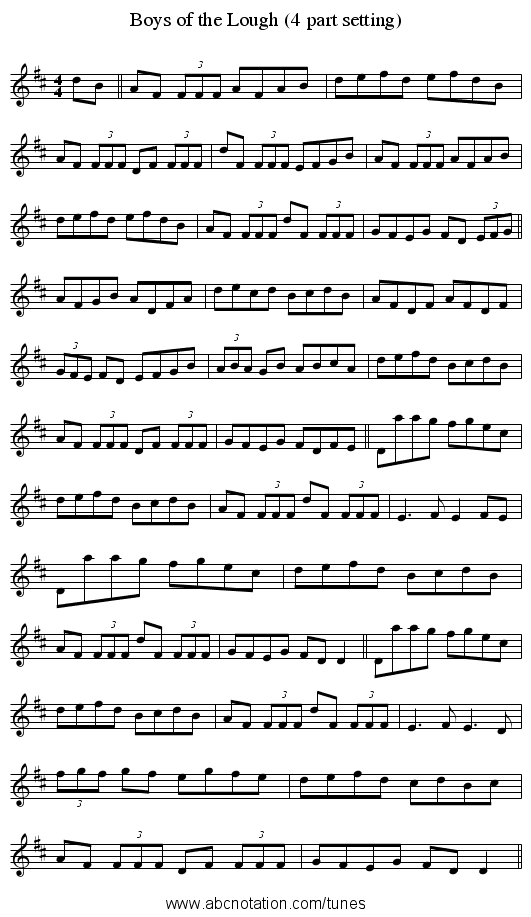 Boys of the Lough (4 part setting) - staff notation
