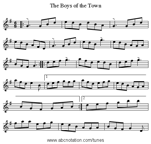 Boys of the Town, The - staff notation