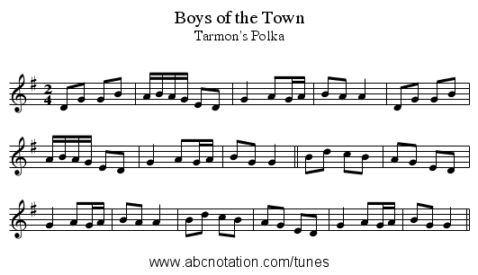 Boys of the Town - staff notation
