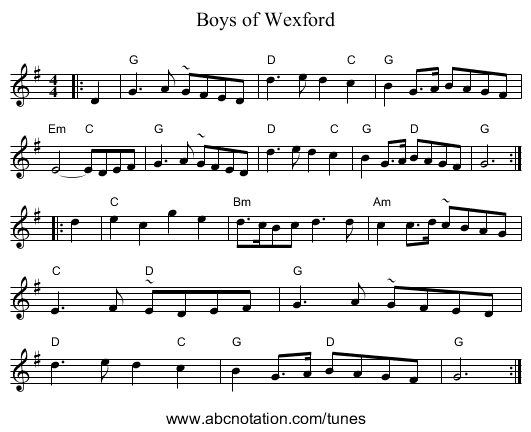 Boys of Wexford - staff notation