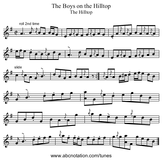 Boys on the Hilltop, The - staff notation