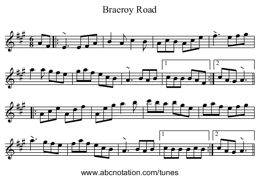 Braeroy Road - staff notation