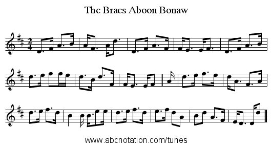 Braes Aboon Bonaw, The - staff notation