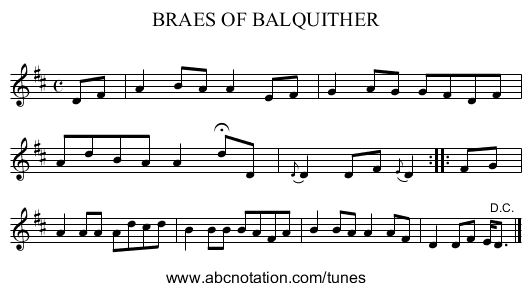 BRAES OF BALQUITHER - staff notation