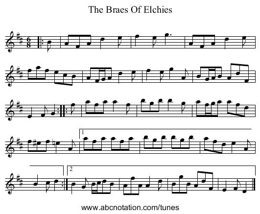 Braes Of Elchies, The - staff notation