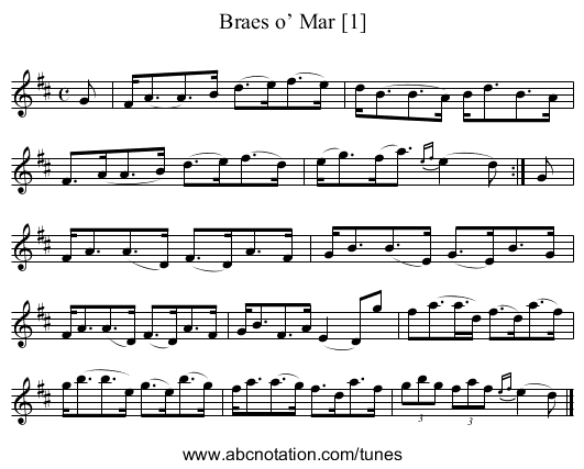 Braes of Mar [1] - staff notation