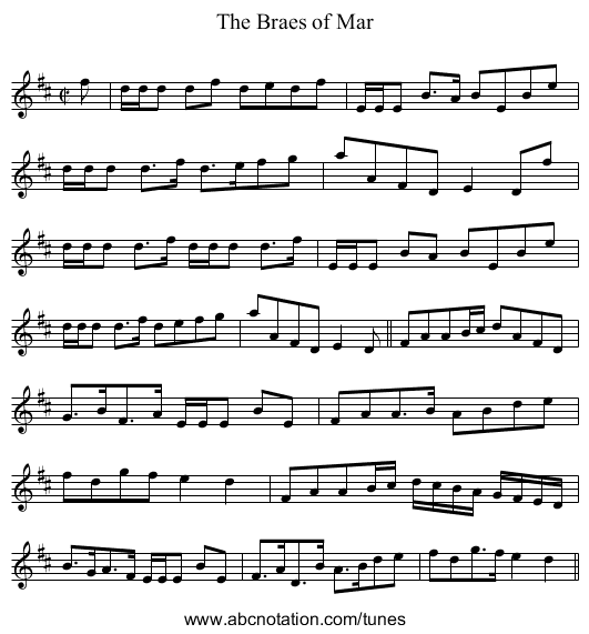 Braes of Mar, The - staff notation