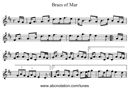 Braes of Mar - staff notation