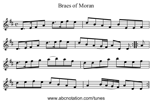 Braes of Moran - staff notation