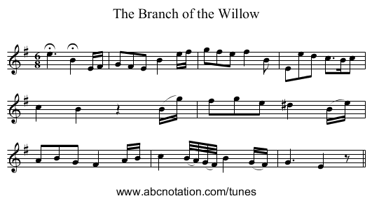 Branch of the Willow, The - staff notation