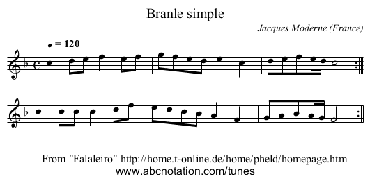 Branle simple - staff notation