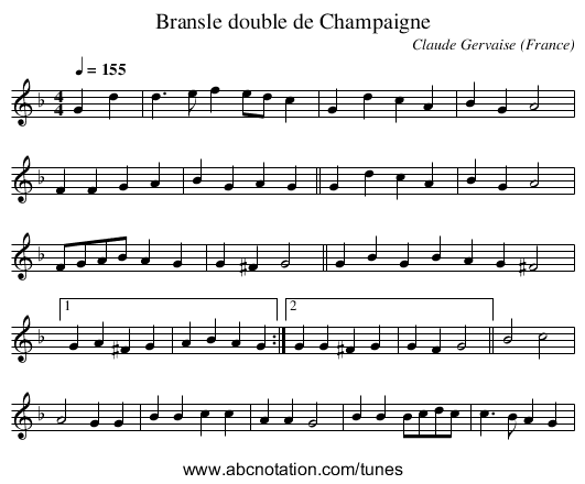 Bransle double de Champaigne - staff notation