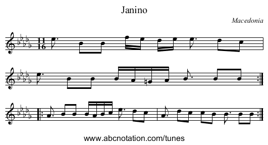 Bransle Simple 1 - staff notation