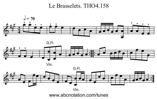 Brasselets. THO4.158, Le - staff notation
