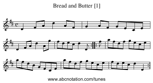 Bread and Butter [1] - staff notation