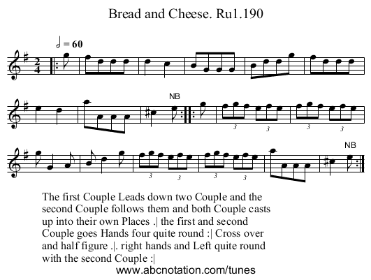 Bread and Cheese. Ru1.190 - staff notation