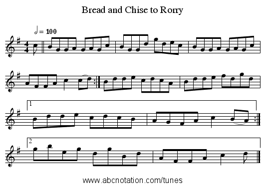 Bread and Chise to Rorry - staff notation