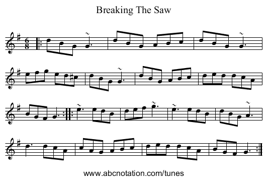 Breaking The Saw - staff notation