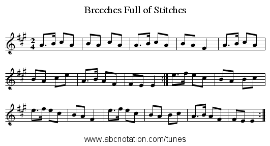 Breeches Full of Stitches - staff notation