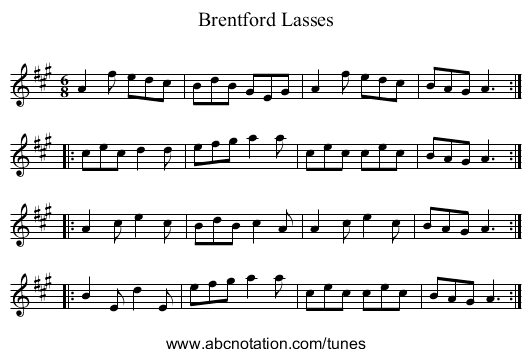 Brentford Lasses - staff notation