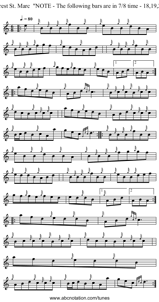 Brest St. Marc  NOTE - The following bars are in 7/8 time - 18,19,20 - staff notation