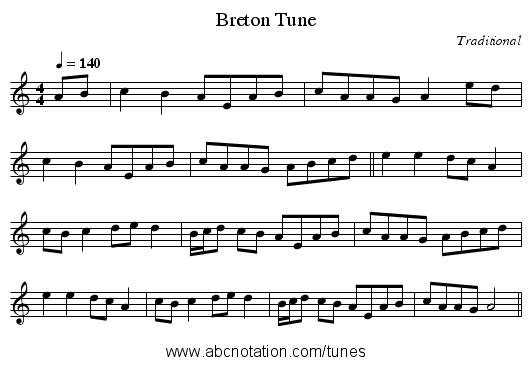 Breton Tune - staff notation