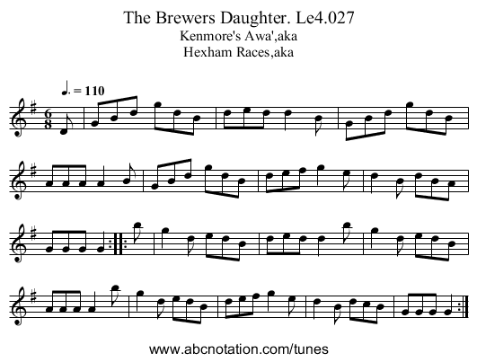 Brewers Daughter. Le4.027, The - staff notation